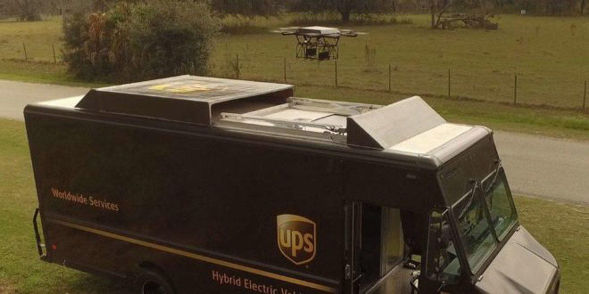 Livraison drone ups camion hybride