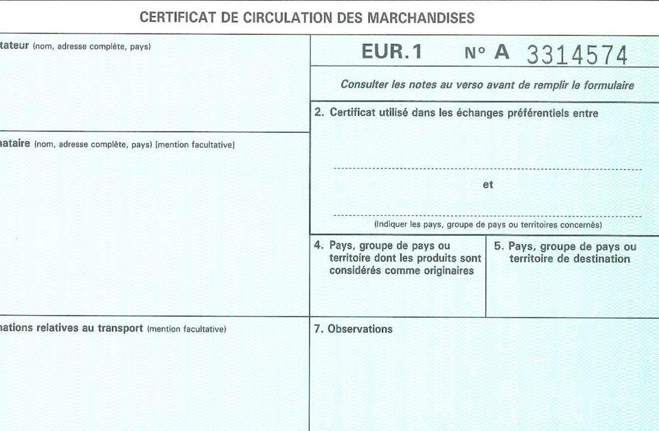 eur1 certificat circulation marchandise dématerialisation